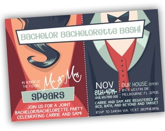 Bachelor, Bachelorette Party Invitation. Customizable Colors and Verbiage