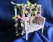 Fairy Garden-Dollhouse Garden-Flowering Bench-Fantasy Bench-Romantic Bench