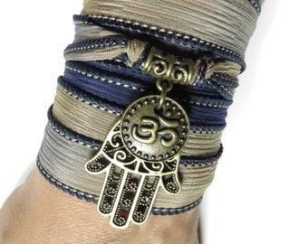 Om Hamsa Yoga Bracelet Bohemian Wrap Silk Bracelet Namaste Spiritual Purple Wrap Boho Bracelet Mother's Day Gift Christmas Stocking Stuffer
