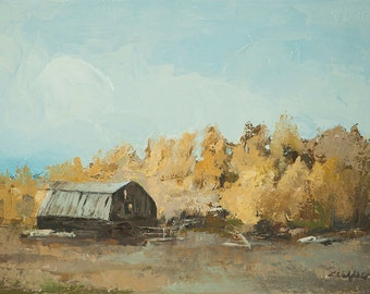 SALE--Bear Lake Barn-  Original oil painting by Lauriann Wakefield