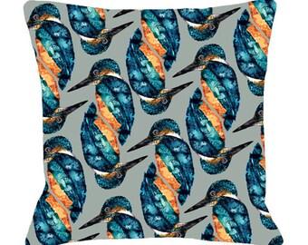 Kingfisher Print Cushion Cover - Bird Cushion Kingfisher Illustration, Printed Cushion Bird Pillow