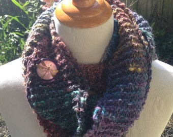 Hand Knit infinity scarf or Oversized Cowl in Fall Colored Stripes with Vintage Glass Dragon Fly Button
