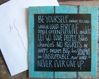 NEW!!! customized rustic barnwood and chalkboard style quote cards