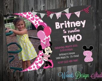 Custom Minnie Mouse Birthday Party Invitations - DIY Printable File