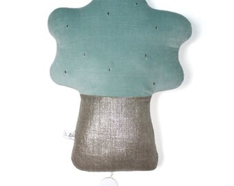 Tree lullaby, light green velvet of cotton and silvery linen