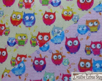2 pcs Felt Decorative Printed Yellow and Pink Owls 19x31 cm Cratf Scrapbooking Jewelry