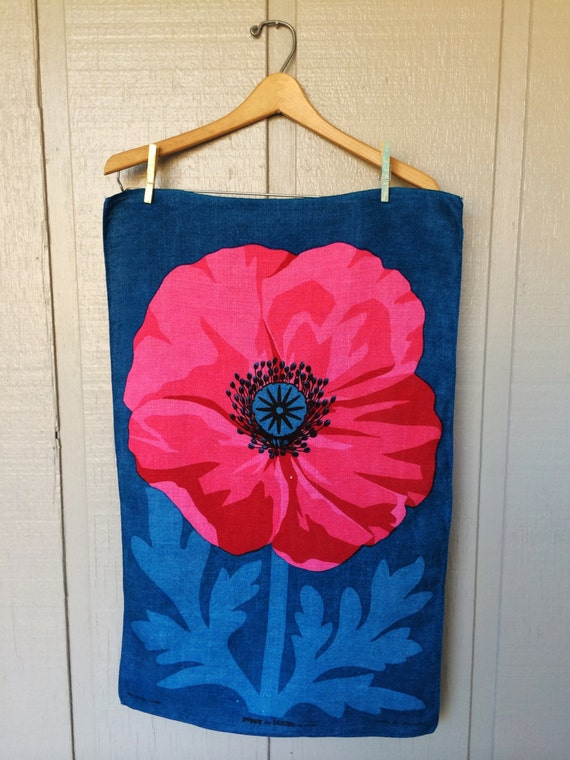 Blue Pink Poppy Linen Kitchen Towel Ulster Linen Towel
