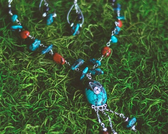 Turquoise ~ red poppy jasper & blue goldstone set