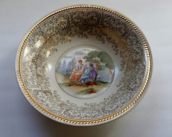 Japanese Limoges serving bowl. Hand painted and 24k gold. Made in Japan