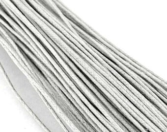 10M Light GRAY / SILVER Waxed Cotton Cord 0.7mm or 1.0mm, Vegan jewelry Cord, Waxed Cotton, Macrame Cord, Cord, bracelet cord /necklace Cord