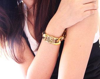Glamour Rock Big Chain with Skulls Graphic Bracelet / Golden Brass Skeleton Cuff / Jewelry / Accessories