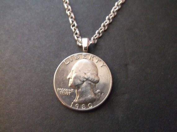 Peru (IL) United States  City new picture : 1980 United States Quarter Coin Necklace United States Quarter ...