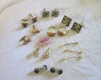 Large Vintage Lot of Mens Cuff Links Etc 1 Swank and More