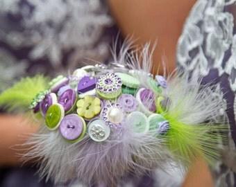 Bridesmaids Vintage Wedding Button Bouquet Lime and Purple