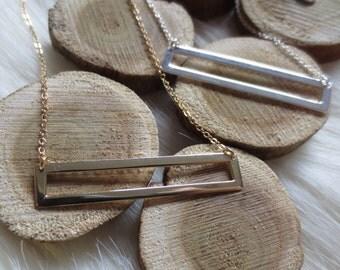 Gold bar necklace, silver bar necklace, gold open bar necklace, silver open bar necklace, simple necklace