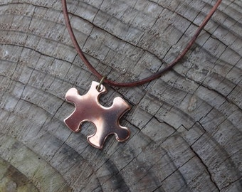 Personalized Puzzle Piece Leather Chord Necklace - Brass Puzzle Piece Necklace