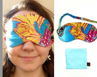 """Silk Sleep Mask 100% Mulberry Silk Filled and Silk Charmeuse Cover """"Butterflies"""""""