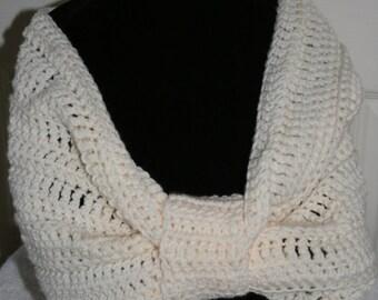 Crochet Cowl Cream Circle Scarf Neck Scarf Ready to ship