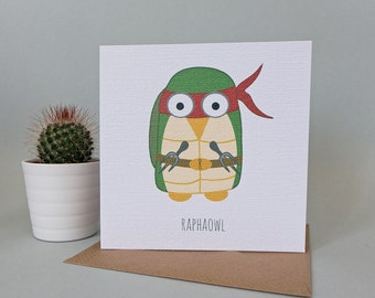 Raphaowl Teenage Mutant Ninja Turtowl Card (Raphael)