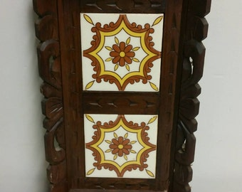 Mexican Wood and Tile Tray