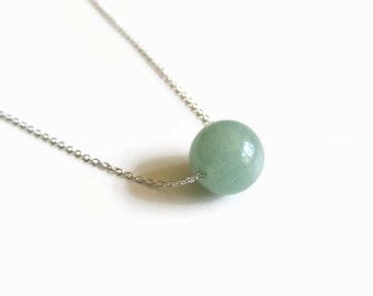 Green Aventurine and Sterling Silver Floating Necklace
