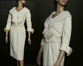 Vintage 1950s Dress//Cream Color// Shawl Collar//Fringing// Fully Lined//Matching Belt//Jackie O//Femme-Fatale//Wool Dress//