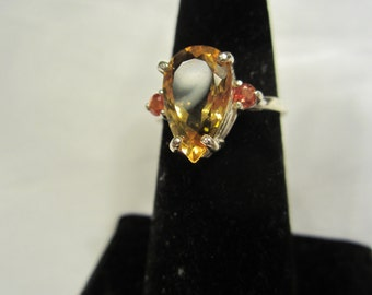 Natural Pear Cut Accented Citrine Size 7 ring