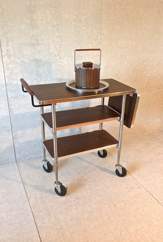 mid century danish modern bar cart w ice by mcmmidwestdesigns. Black Bedroom Furniture Sets. Home Design Ideas