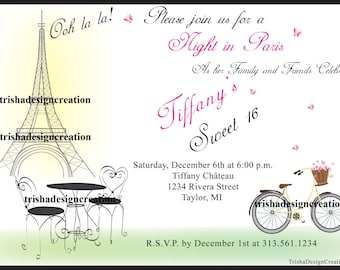 """Night in Paris Sweet 16th theme """"EACH"""" Invitation (WITH ENVELOPES)"""