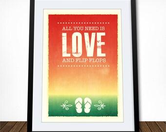 Beach Decor, Flip Flop Print, Coastal Art, Boho Print, Summer Poster, Quote Art Print, Quote Poster