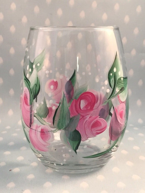 Hand painted glasses stemless wine glasses by brusheswithaview for Painted stemless wine glasses