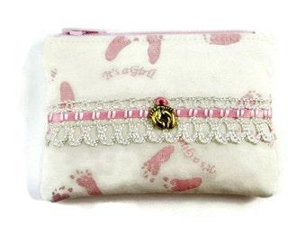 Infant Girl's Rosary Pouch, Baby Girls Small Keepsake Holder, Pink, Baby's Feet, Heirloom Holder