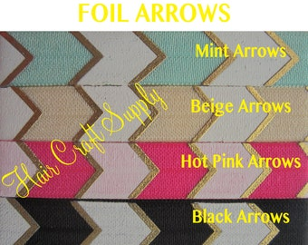 ON SALE - ARROW Foil Elastic Prints Choose from 1 - 5 yards - for headbands - sold by the yard - diy headbands