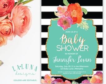 Baby Shower Invitation, Black and White Stripe, Floral Baby Shower, Striped Baby Shower Invitation, Glitter Baby Shower, DIY Printable