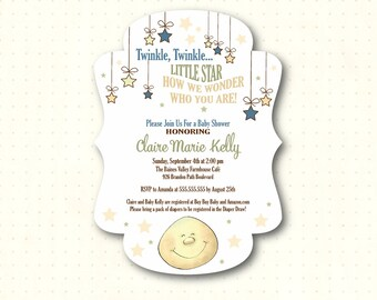 Twinkle Twinkle Baby Shower Die-Cut Invitations, boy, girl, gender neutral, pink, blue, green, gender reveal, sip and see, printed, B21951