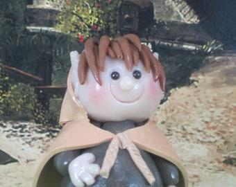 Hobbit for Fairy Garden OOAK like Bilbo or Frodo, handmade miniature