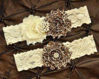 Leopard Wedding Garter Belt, Bridal Garter Set - Ivory Lace Garter, Keepsake Garter, Toss Garter, Leopard Wedding Garter, Leopard Print
