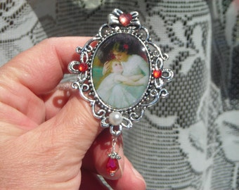 MOTHER & daughter antique style CAMEO look large brooch w crystal w. pearl cab- swarovski tear drop