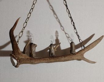 "Three Light Elk Antler Light Fixture (32"" L X 11"" H)"
