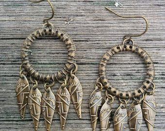 Antique Bronze Chandelier Earrings