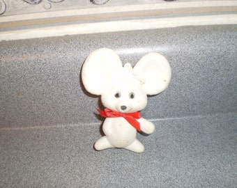 Vintage White Felted Mouse Figurine Ornament