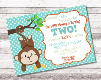 Boy's Monkey Birthday Invitation | Swing On By | Little Monkey | 1st 2nd Any Age Birthday | Monkey Birthday | Boy Birthday Invite | Digital