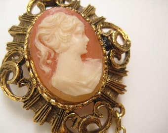 Greek Woman Cameo Brooch -Coral and gold tone Victorian style Pin  1950s -Estate Sale