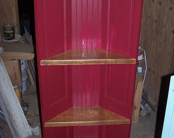 The Crescent Corner Shelving Unit, From Old Doors and Bead Board