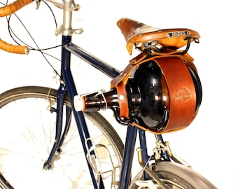 Bicycle Mounted Leather Growler Carrier for Glass Flip Top Growlers