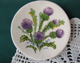 Small Round Dish with Purple Thistle Design Ceramic Teabag Holder, Spoon Rest or Trinket Dish