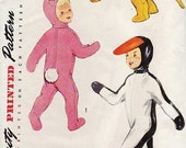 1950s Easter or Halloween Costume Sewing Pattern Simplicity 4073 Childrens Penguin Bunny Rabbit Cat Lion Cub Duck  Hood Mittens  UNCUT