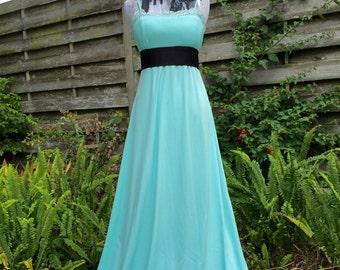 Teal dress Vintage maxi dress 1970s maxi dress disco gown powder blue gown pale blue gown dress vintage