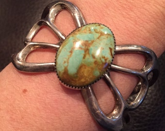 Sandcast Sterling Silver & Turquoise Native American Navajo Cuff Bracelet