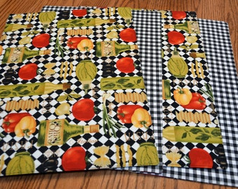 Placemats, Set of 4, Italian Bistro, Tablemats, Dining table mats, Kitchen table mats, Ready to ship